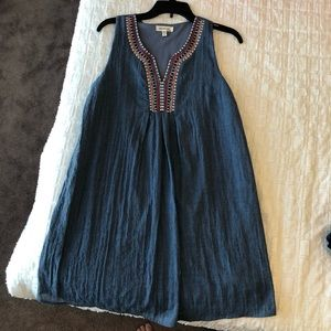 Monteau Embroidered Chambray Dress